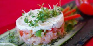 tartare di salmone e cetriolo