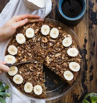 torta di quinoa, banane e noci