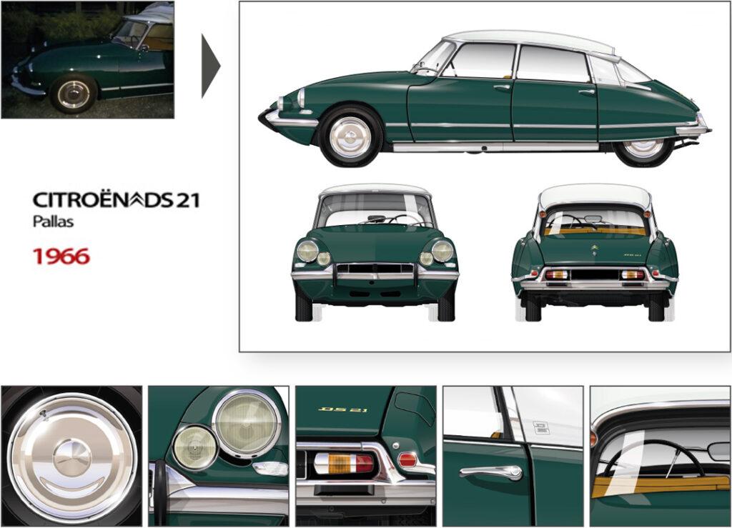 1966 CITROEN DS 21 PALLAS BB ikonoto customized blueprint
