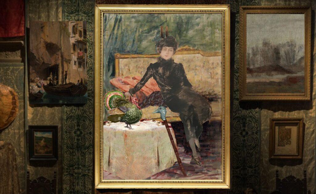 Ritratto di Signora con tacchino e bastone zoomorfo. Primi anni del '900. Ricostruzione immaginaria di Fabrizio Mangoni.