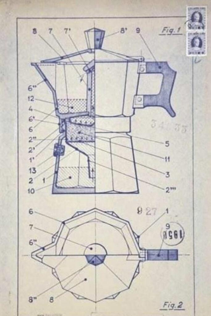 Moka Bialetti disegno Brevetto