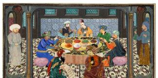 Le Banquet du Calife Mustakfi. Ricostruzione immaginaria di Fabrizio Mangoni.