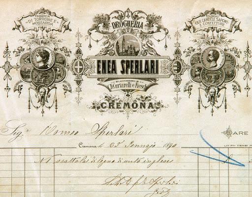 1890 carta commerciale Enea Sperlari